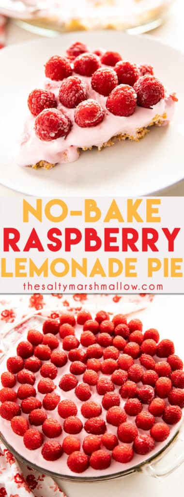 Raspberry Lemonade Pie is an absolutely delicious cool and creamy summer treat!  This no-bake lemonade pie is easy to fix with only a few ingredients and topped with fresh raspberries making it as gorgeous as it is tasty! #pie #nobakepie #summerdessert #thesaltymarshmallow #raspberry #lemonadepie