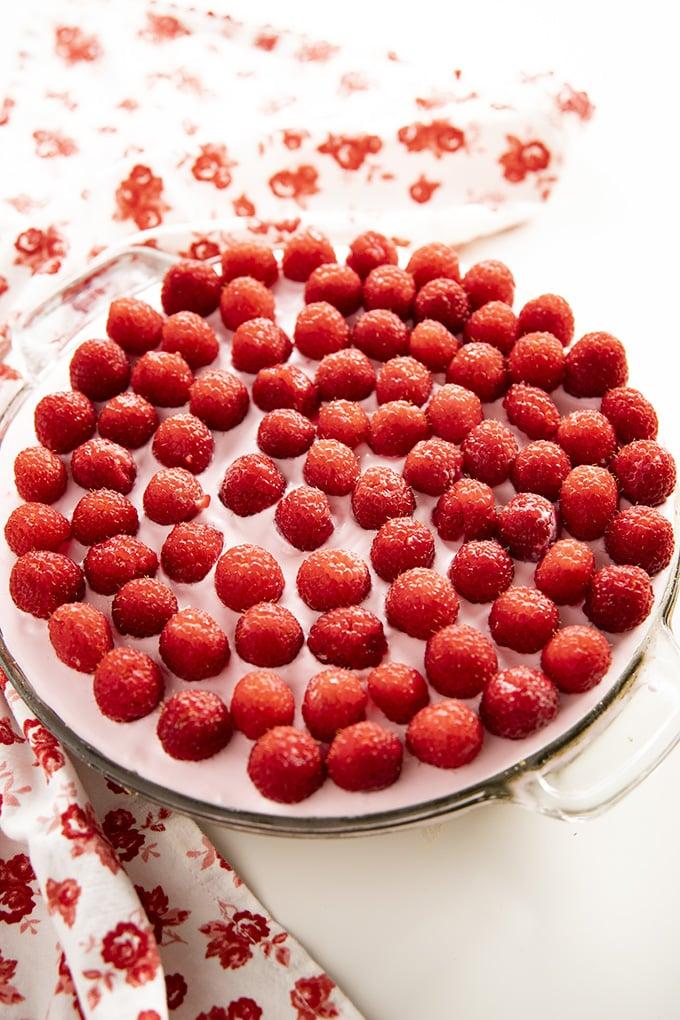 lemonade pie with raspberries