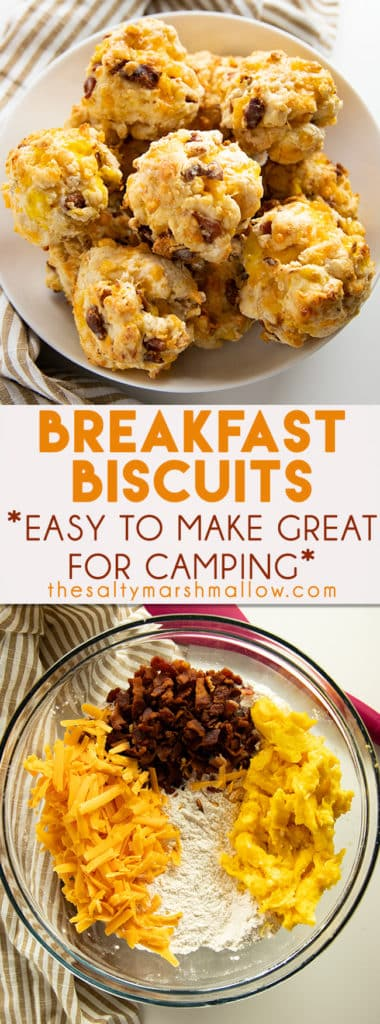 Loaded Breakfast Biscuits are packed full of bacon, eggs, and cheese!  A mouthwatering, savory, biscuit that is a meal in itself.  These breakfast biscuits are the perfect camping breakfast or great to make ahead for a busy weekday morning! #camping #thesaltymarshmallow #breakfast #biscuits