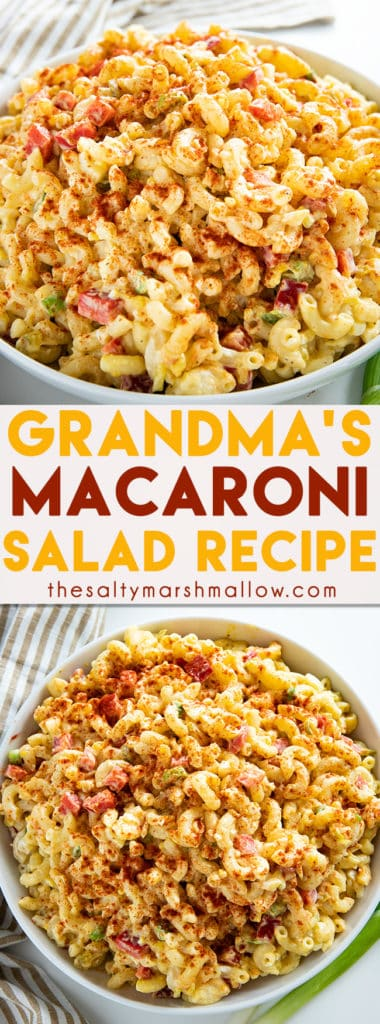 Macaroni Salad is a classic summer pasta salad loaded with noodles, egg, dill pickle relish, and a flavorful dressing! My recipe for macaroni salad is sure to be a hit at your next picnic, potluck, or bbq! #thesaltymarshmallow #macaronisalad #sidedish #macaronisaladrecipe #easymacaronisalad