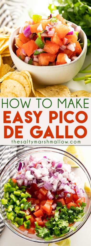 Pico De Gallo Recipe shows you how to make pico at home from scratch with simple ingredients and only 15 minutes! This authentic Pico De Gallo Recipe is the absolute best with mouthwatering fresh flavors you can't resist! #thesaltymarshmallow #pico #picodegallo #diprecipes #salsa