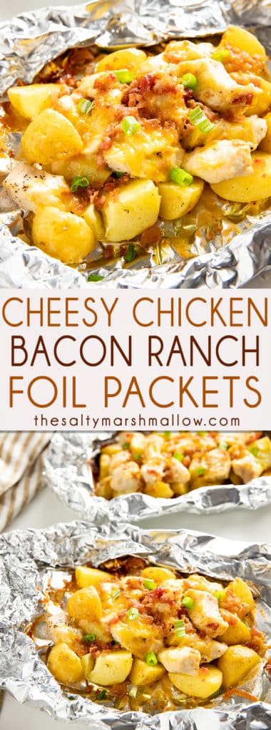 Bacon Ranch Chicken Foil Packets are the perfect easy and flavor packed dinner with potatoes, cheese, and bacon! These chicken foil packets come together in a snap and can be made on the grill or in the oven! #foilpacketmeals #foilpackets #camping #foilpacketschicken #foilpacketsoven #foilpacketsgrill #thesaltymarshmallow