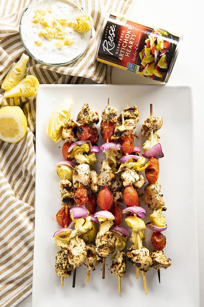 chicken kabobs with artichokes