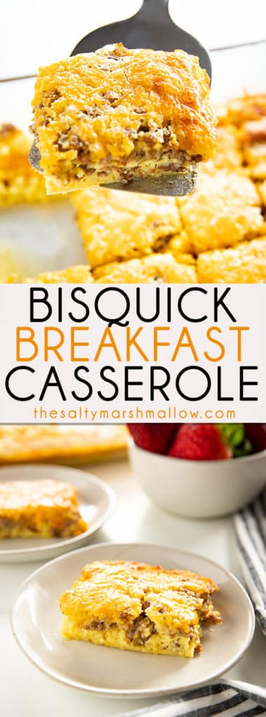Bisquick Breakfast Casserole is a classic breakfast favorite the whole family will love! A savory breakfast casserole full of sausage, eggs, cheese and the easiest to put together! #breakfast #breakfastcasserole #bisquick #sausagebreakfastcasserole #thesaltymarshmallow