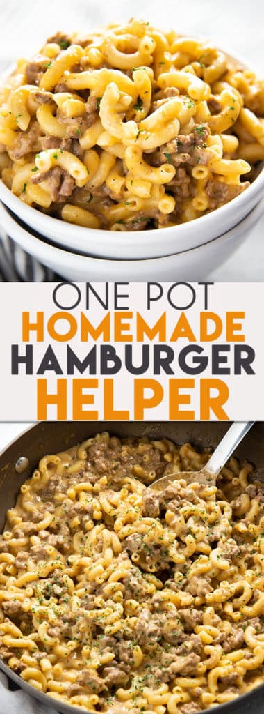 One Pot Homemade Hamburger Helper is just like the classic favorite Cheeseburger Macaroni that we all know and love! An easy and budget friendly weeknight dinner recipe for the whole family! #easydinnerrecipes #homemadehamburgerhelper #cheeseburgermacaroni #groundbeefrecipes #thesaltymarshmallow #easygroundbeefrecipes