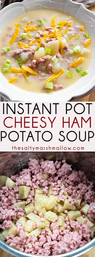 Ham and Cheese Instant Pot Potato Soup is creamy and indulgent!  The easiest baked potato style soup made easy in your instant pot full of tender potatoes, ham, and plenty of cheddar cheese! #potatosoup #instantpotsoup #instantpotpotatosoup #hampotatosoup #thesaltymarshmallow