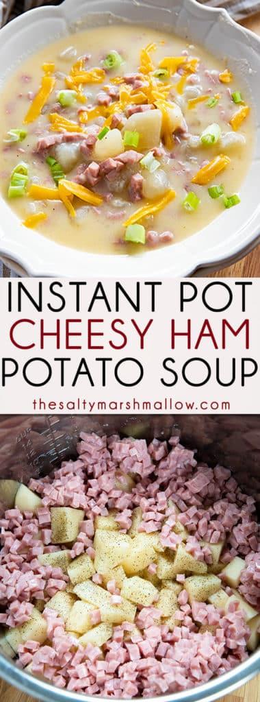 火腿奶酪即食土豆汤是奶油味的,而且很好吃!最简单的烤马铃薯汤,在装满嫩马铃薯的速溶锅里煮起来很容易,火腿,还有很多切达奶酪!# potatosoup # instantpotsoup # instantpotpotatosoup # hampotatosoup # thesaltymarshmallow