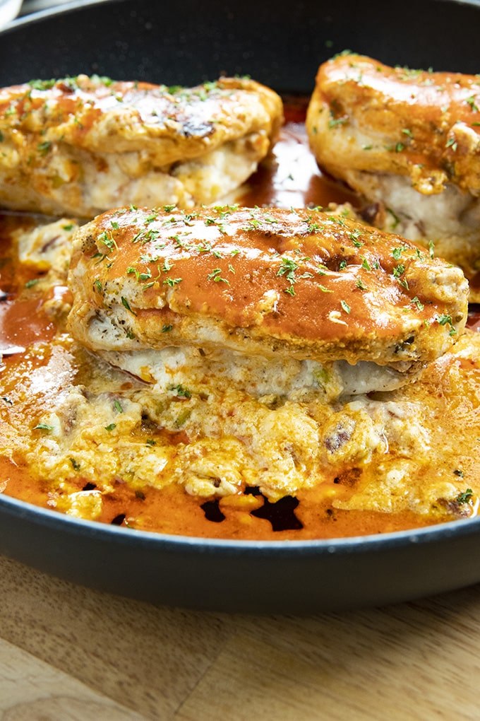 mozzarella bacon stuffed chicken breast with buffalo sauce