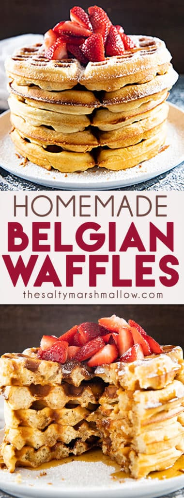 This Homemade Belgian Waffle Recipe is easy and makes delicious, authentic, Belgian waffles!  These waffles are perfectly crisp and golden on the outside while being light and fluffy on the inside! #breakfastrecipes #waffles #belgianwaffles #wafflerecipe #easyhomemadewafflerecipe #thesaltymarshmallow