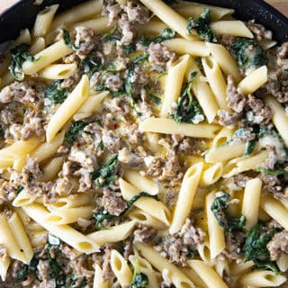easy italian sausage pasta with cream and spinach