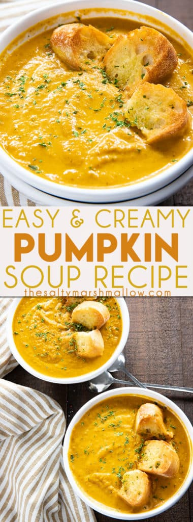 Easy Pumpkin Soup - This thick and creamy pumpkin soup is simple to make using canned pumpkin puree!  Caramelized onion, cinnamon, nutmeg, and ginger give this fall favorite soup amazing warm flavor! #pumpkin #pumpkinsoup #easypumpkinsouprecipe #thesaltymarshmallow