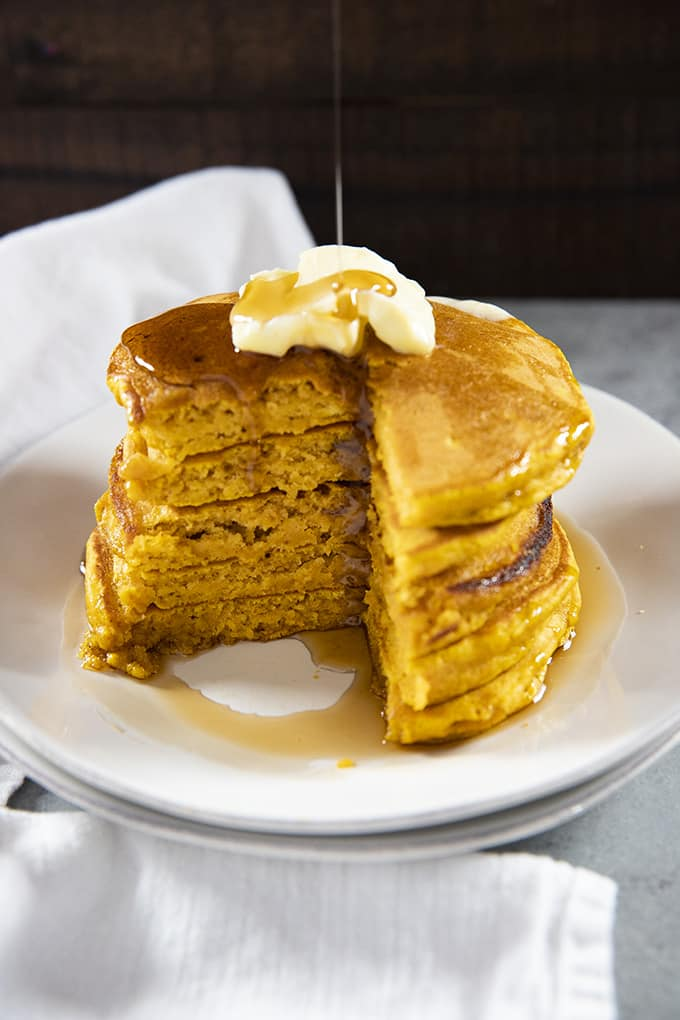 easy pumpkin pancakes with syrup and butter