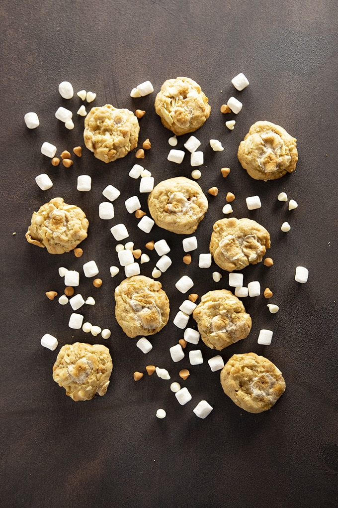 salty marshmallow cookies with butterscotch and white chocolate chips