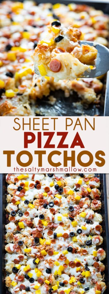 Easy Pizza Totchos are a fun and easy pizza appetizer to make for your game day crowd!  Learn how to make totchos full of your favorite mouthwatering pizza toppings! #totchos #tatertots #appertizers #easyappetizerrecipes #pizzaappetizers #thesaltymarshmallow