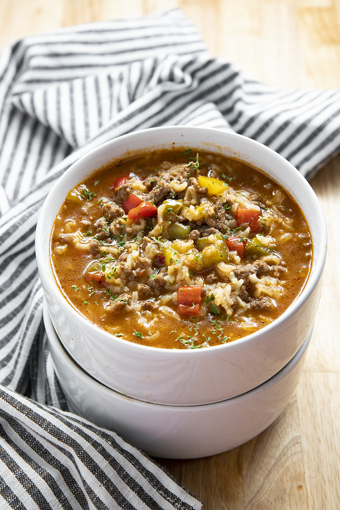 stuffed pepper soup made in the instant pot