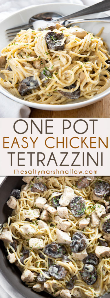 One Pot Chicken Tetrazzini is a creamy and satisfying chicken casserole that is easy to make in 30 minutes or less!  This cheesy, homemade chicken tetrazzini is the best! #chickenrecipes #chickenbreastrecipes #easychickenrecipes #chickendinnerrecipes #chickenpasta #chickentetrazzini #easychickentetrazzini