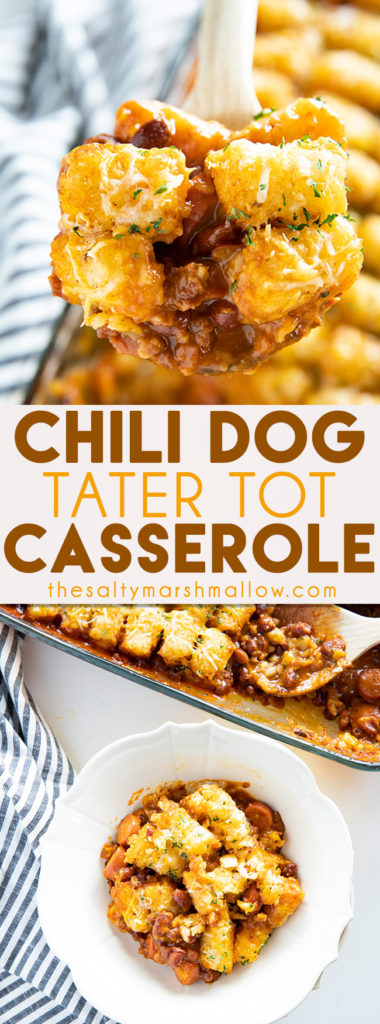Tater Tot Chili Dog Casserole is a cheesy, savory, and fun new twist on tater tot casserole and chili dogs! This casserole is easy to make with leftover or canned chili! #casserole #easycasserolerecipe #chilidogcasserole #easyweeknightdinner #thesaltymarshmallow