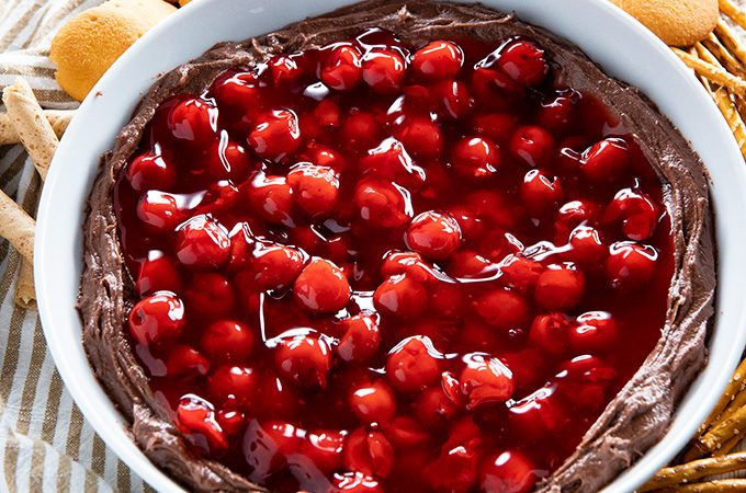 chocolate dip with cherry pie filling