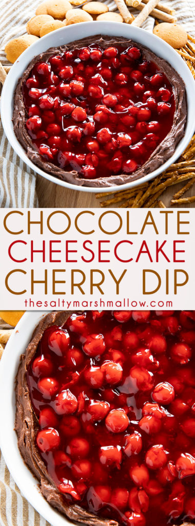 Creamy Cherry Chocolate Dip is the perfect chocolate cheesecake style dip for fruit, cookies, and crackers!  We love this decadent chocolate dessert dip for the holidays! #holidaydessertrecipes #cherrycheesecakedip #chocolatedip #easydessertdip #creamcheesedessertdip #thesaltymarshmallow