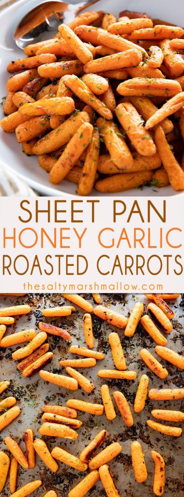 Easy Honey Roasted Carrots are such a flavorful and simple side dish for weeknight meal or the holidays!  Carrots are roasted to tender perfection with honey, garlic, and a simple blend of seasonings. #carrots #cookedcarrots #sidedishes #sidedishrecipes #roastedcarrots #thanksgivingrecipessidedishes #saltymarshmallow