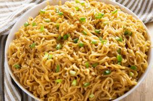 sesame garlic ramen noodles in a bowl