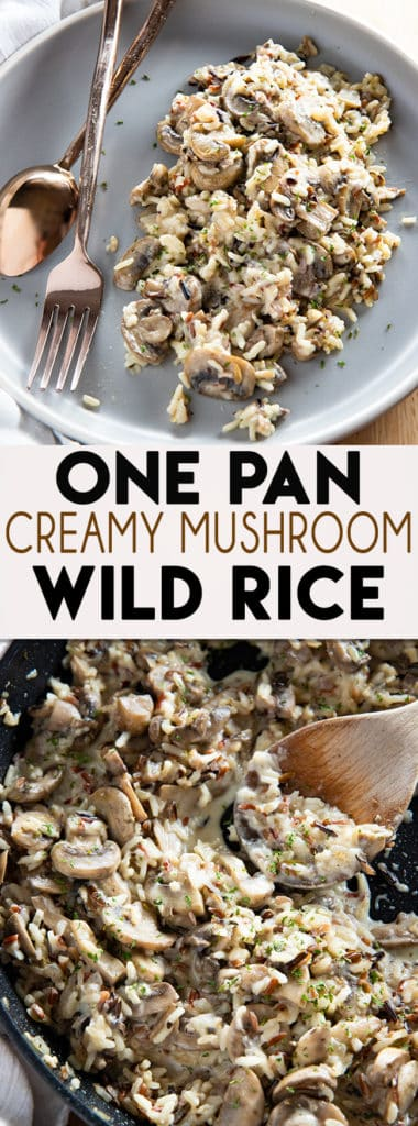 Creamy Mushroom Wild Rice Recipe is the absolute best, easy to make in one pan wild rice!  This rice is a perfect meatless main or side dish for any occasion! #ricerecipes #wildricerecipes #easywildrice #wildricehowtocook #mushroomrice #creamyrice #sidedishrecipes #thesaltymarshmallow