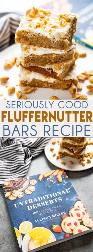 Fluffernutter Bars are a decadent and fun dessert that tastes like the fluffernutter sandwiches we loved growing up!  A soft peanut butter bar is topped with marshmallow buttercream!