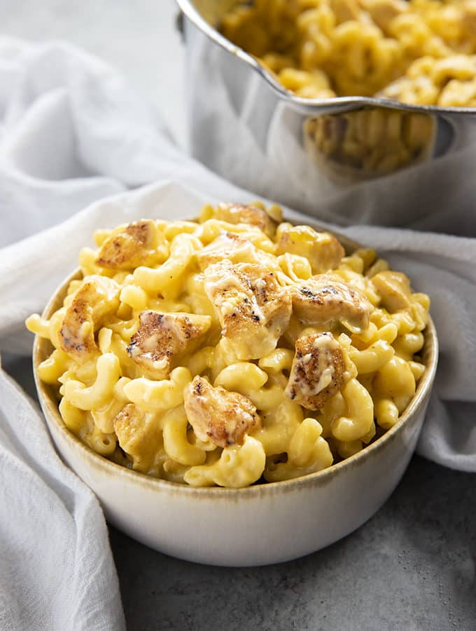 taco chicken mac and cheese in a bowl