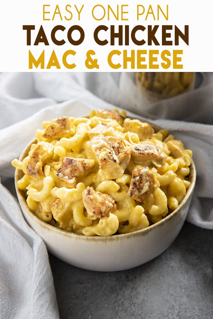Taco Chicken Mac and Cheese is an easy one pot mac and cheese that is so rich and creamy!  This simple macaroni and cheese is full of chicken, green chilies, and two kinds of cheese! #macandcheese #onepotmeal #onepotpasta #chickenmacandcheese #onepotmacandcheese #tacomacandcheese #thesaltymarshmallow