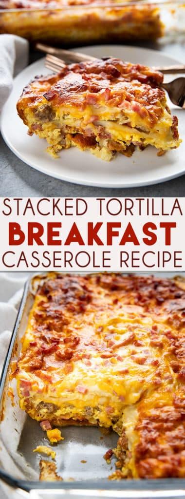 堆叠玉米早餐的腿是一个有趣的,容易,和漂亮的腿,可以了吧!层的玉米饼堆满了熏肉,香肠,和火腿美味的早餐!# #早午餐# breakfastcasserole # breakfastcasserolerecipe # thesaltymarshmallow早餐