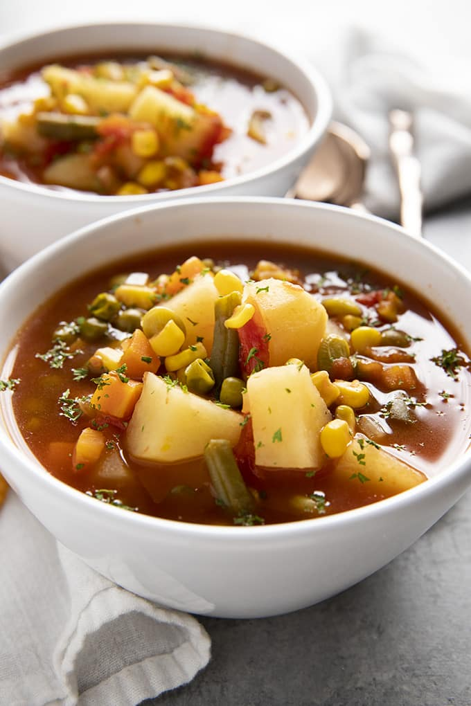 close up vegetable soup