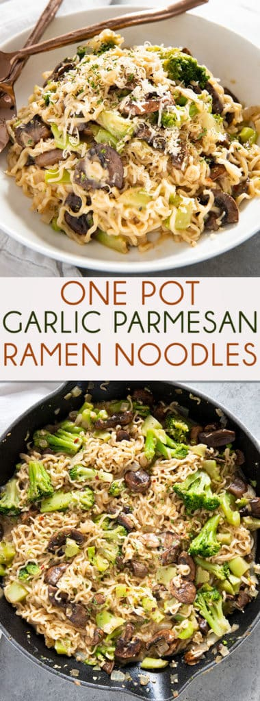 One Pan Garlic Parmesan Ramen Noodles -A family favorite, one of the best ramen noodle recipes! These noodles are smothered in a creamy garlic sauce with veggies!