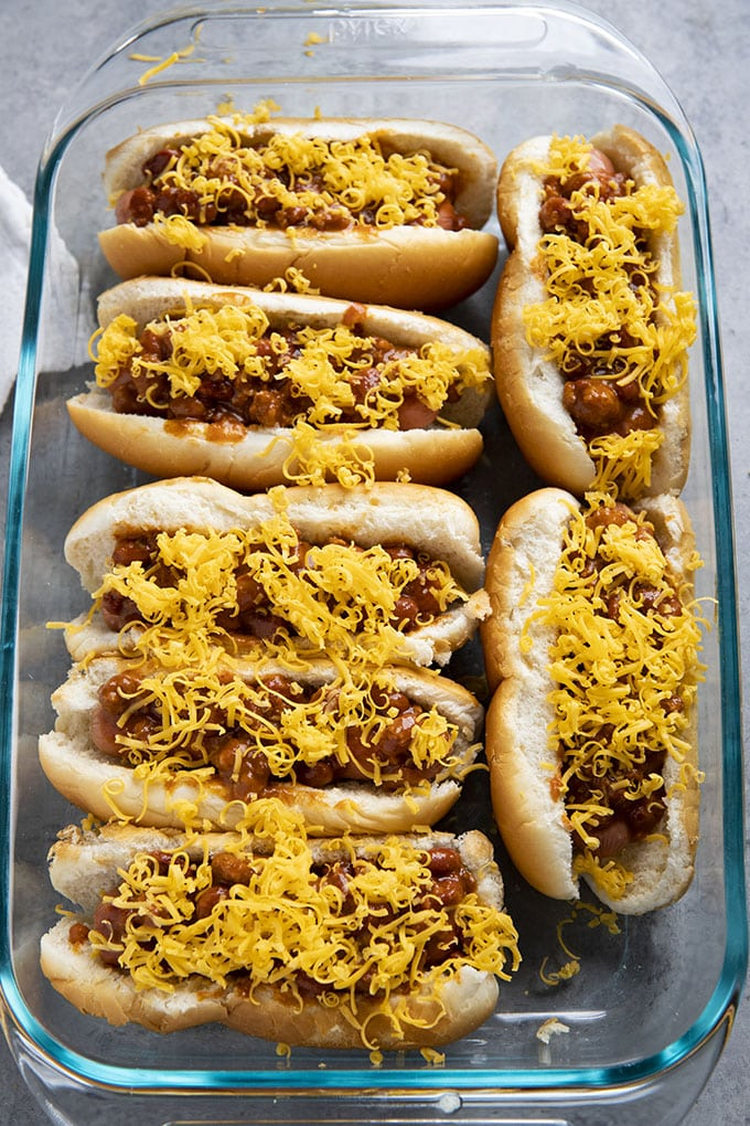 baked chili dogs with cheese