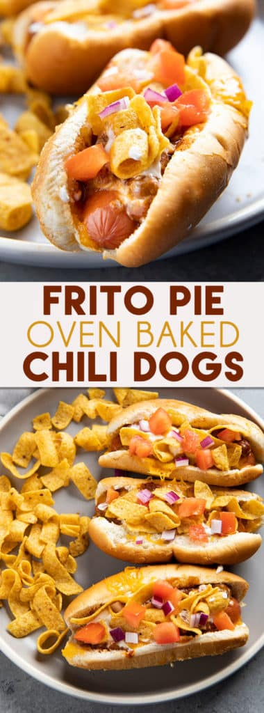 Frito Pie Chili Dogs are a fun and tasty chili dog recipe for game day or an easy weeknight dinner! Hot dogs baked with chili and cheese and topped with Fritos!