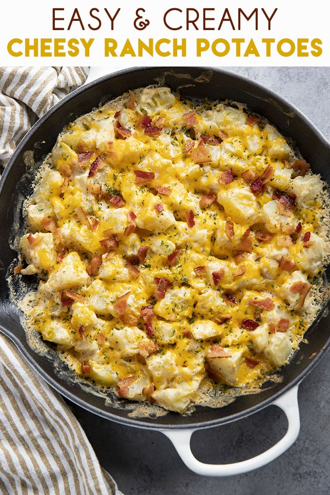 Cheesy Ranch Potatoes are a mouthwatering potato side dish to spice up your dinner routine! These easy to make potatoes are creamy, cheesy, and ready fast! #potatoes #cheesypotatoes #sidedish