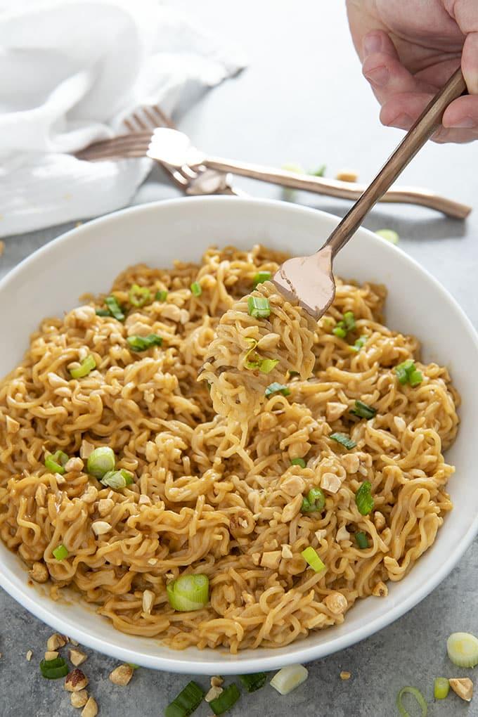 ramen noodles with fork