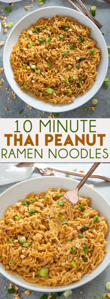 Thai Peanut Ramen Noodles gives instant ramen a makeover with a mouthwatering peanut sauce! This easy ramen noodles recipe is ready in ten minutes! #ramen #ramennoodles #ramennoodlerecipes #easydinnerrecipes #noodlesThai Peanut Ramen Noodles gives instant ramen a makeover with a mouthwatering peanut sauce! This easy ramen noodles recipe is ready in ten minutes! #ramen #ramennoodles #ramennoodlerecipes #easydinnerrecipes #noodles