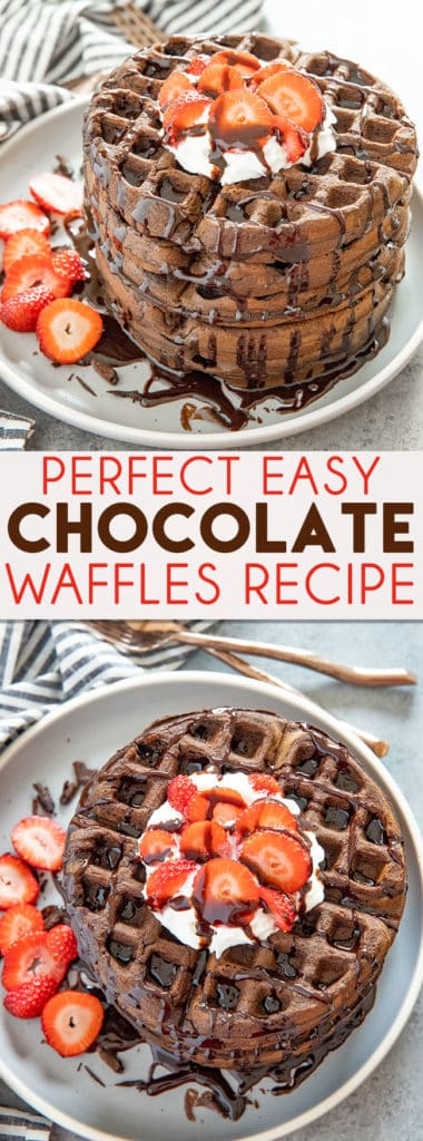 Perfect Chocolate Waffles are easy to make at home in about 30 minutes! These waffles are crisp on the outside, with a tender and rich chocolate inside! #waffles #chocolatewaffles #belgianwaffles #thesaltymarshmallow #breakfast #brunch