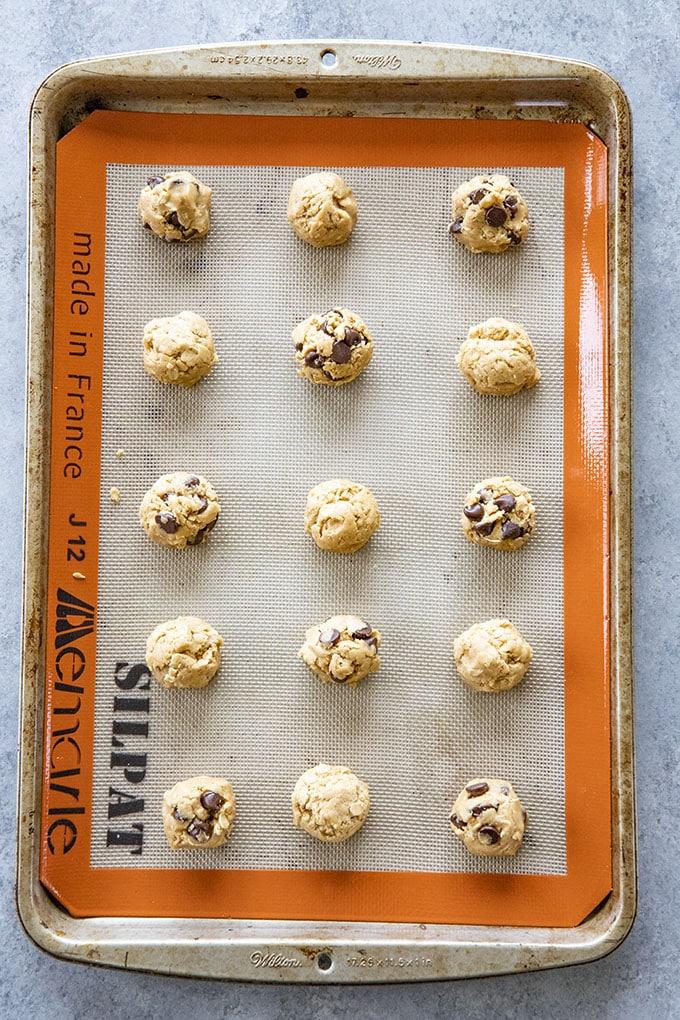 peanut butter oatmeal cookies on baking sheet