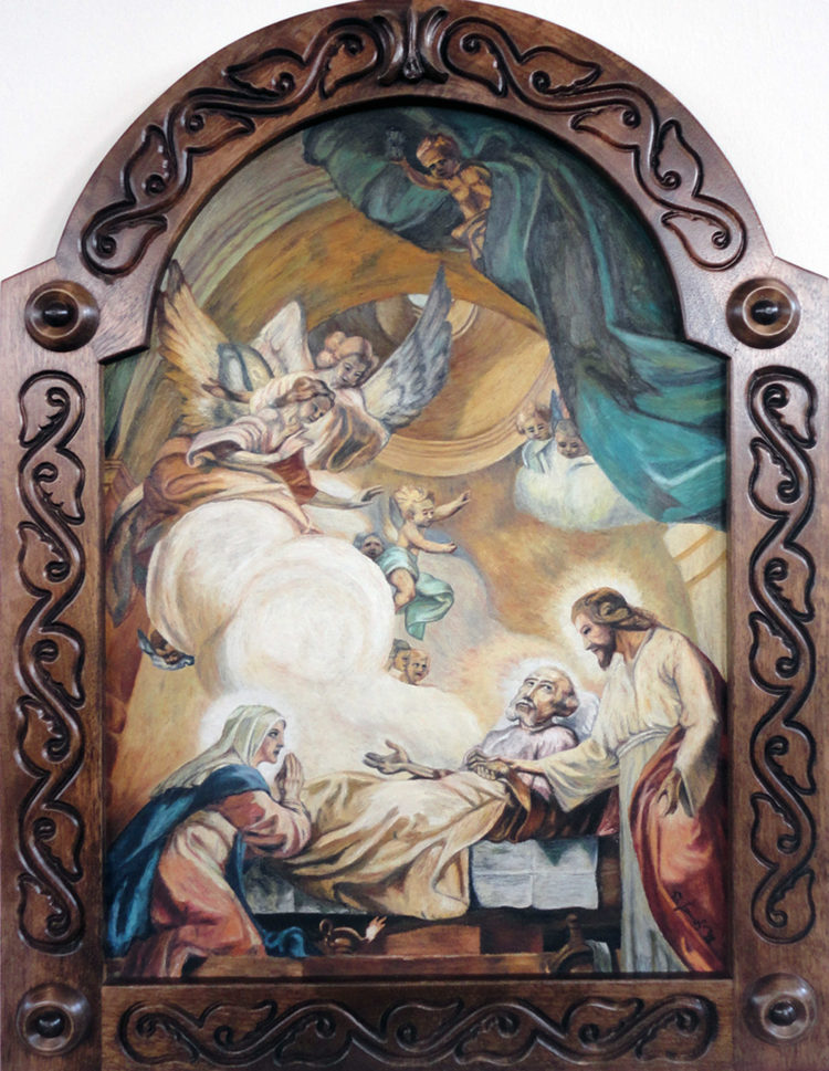 Dying of St. Joseph, 1988 by Werner Szendi (www.szendi.at), oil on wood Exhibited in the parish chur