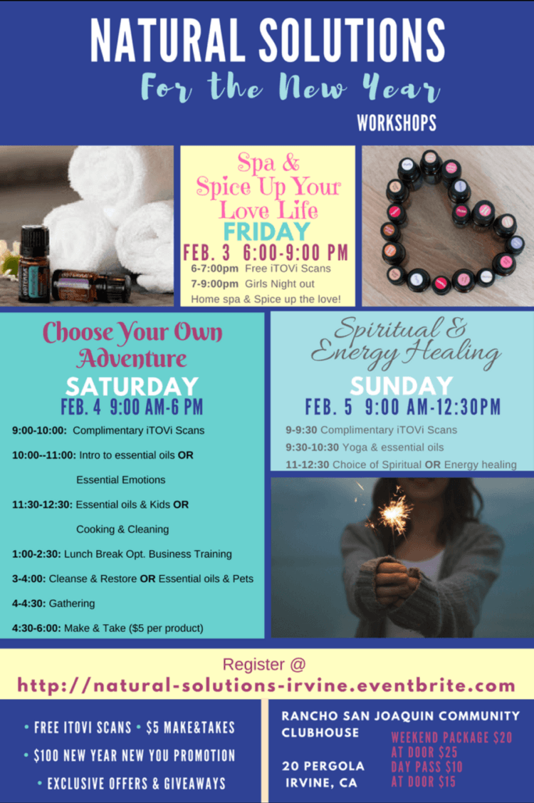 Tremendous Essential Oil Education Workshop – Natural Solutions for the New Year! Feb 3-5 in I