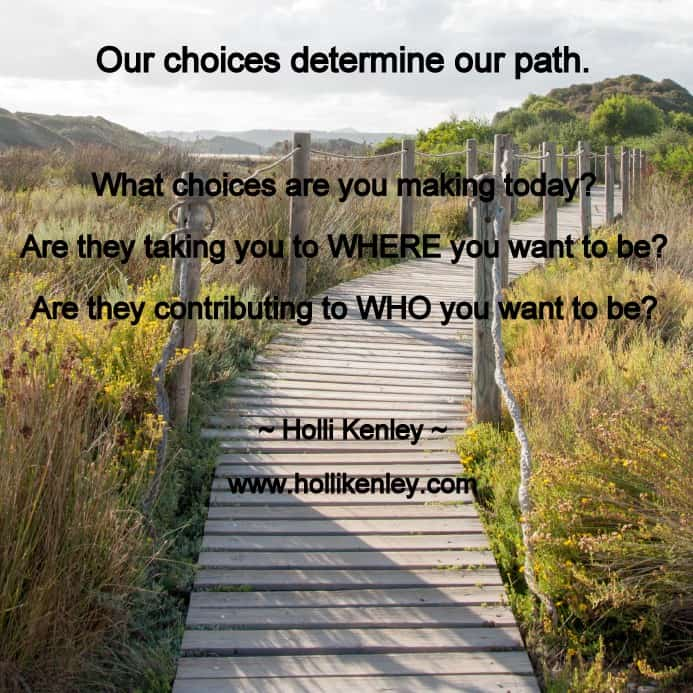 Each moment of every day, we have the power of choice. Will we choose wellness? Wooden path crossing