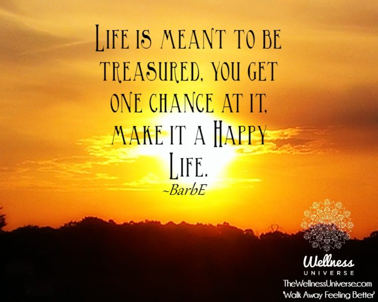 Life is meant to be treasured, you get one chance at it, make it a Happy Life. ~@barbaraengels IMAG0