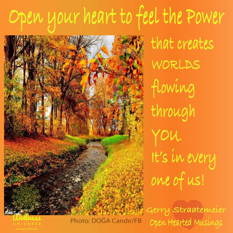 Open your heart to the Infinite Power for Good flowing through YOU. It is yours to use for yourself,