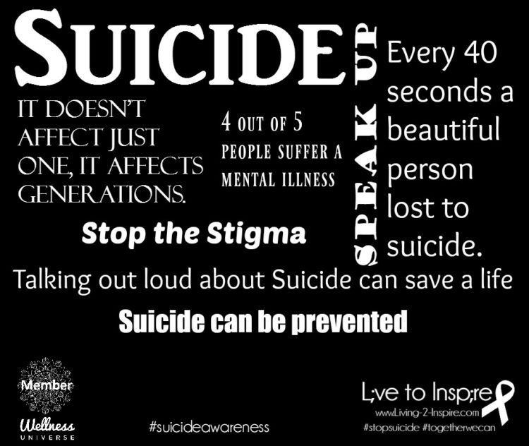 Suicide It doesn't just affect one, it affect generations. 4 out of 5 people suffer a mental i