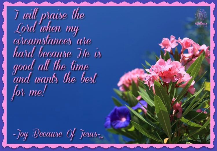 My motto in life is to praise the Lord in all of my circumstances. It is a choice in life to give pr