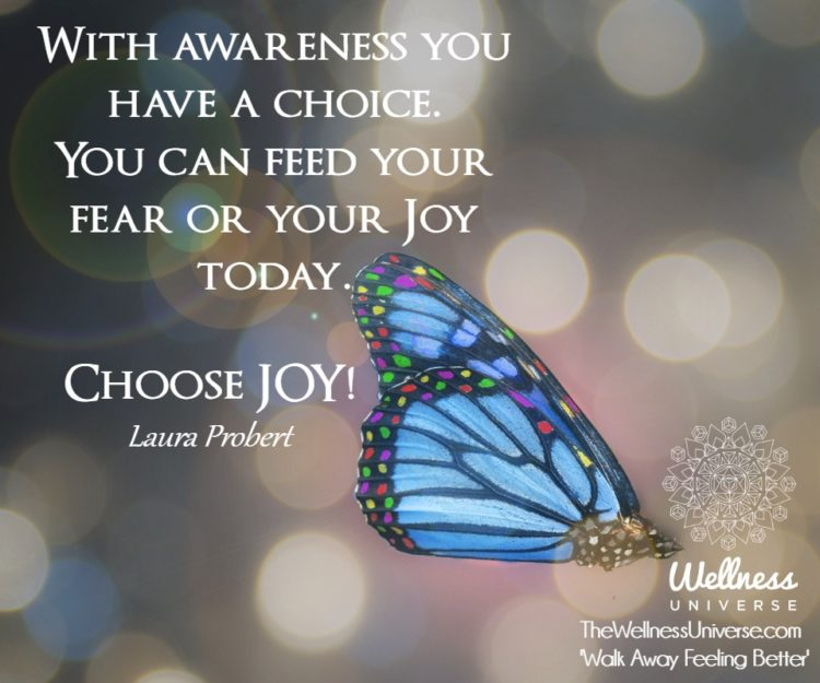 With awareness you have a choice. You can feed your fear or your Joy today. Choose JOY! ~@lauraprobe