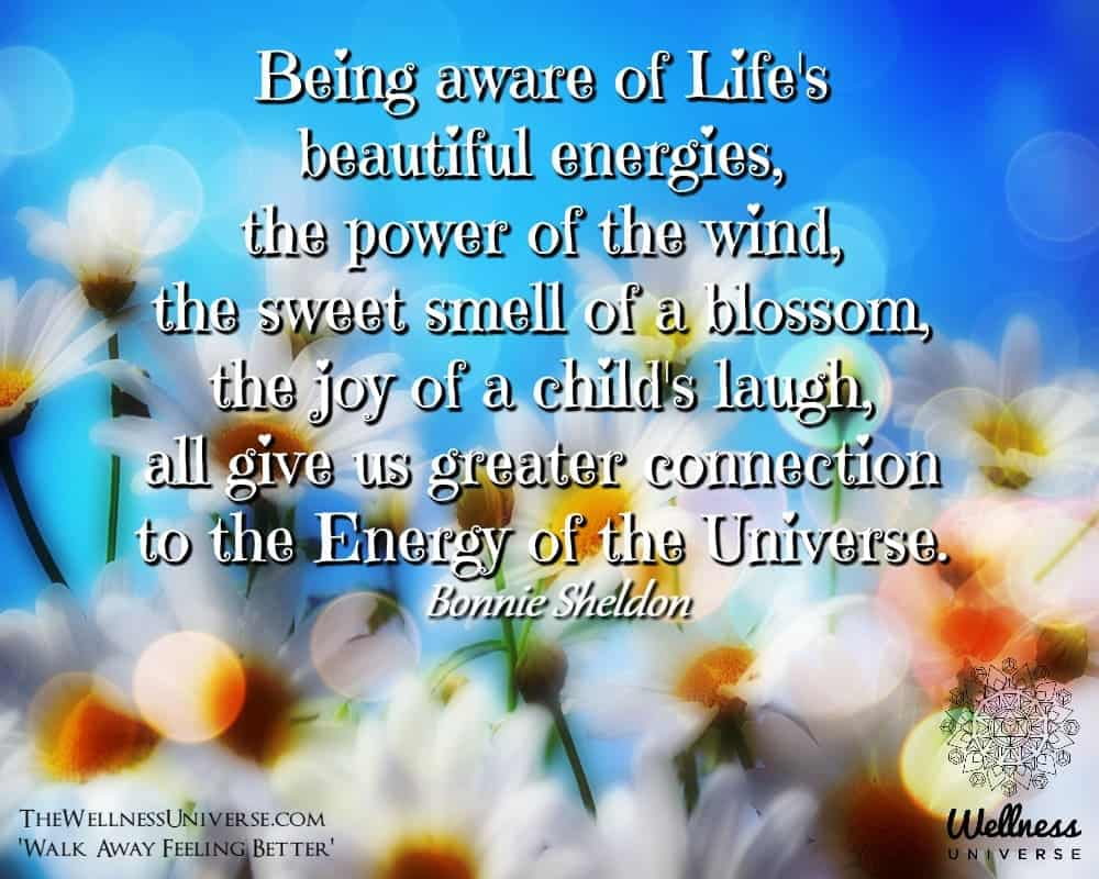 Being aware of Life's beautiful energies, the power of the wind, the sweet smell of a blossom,