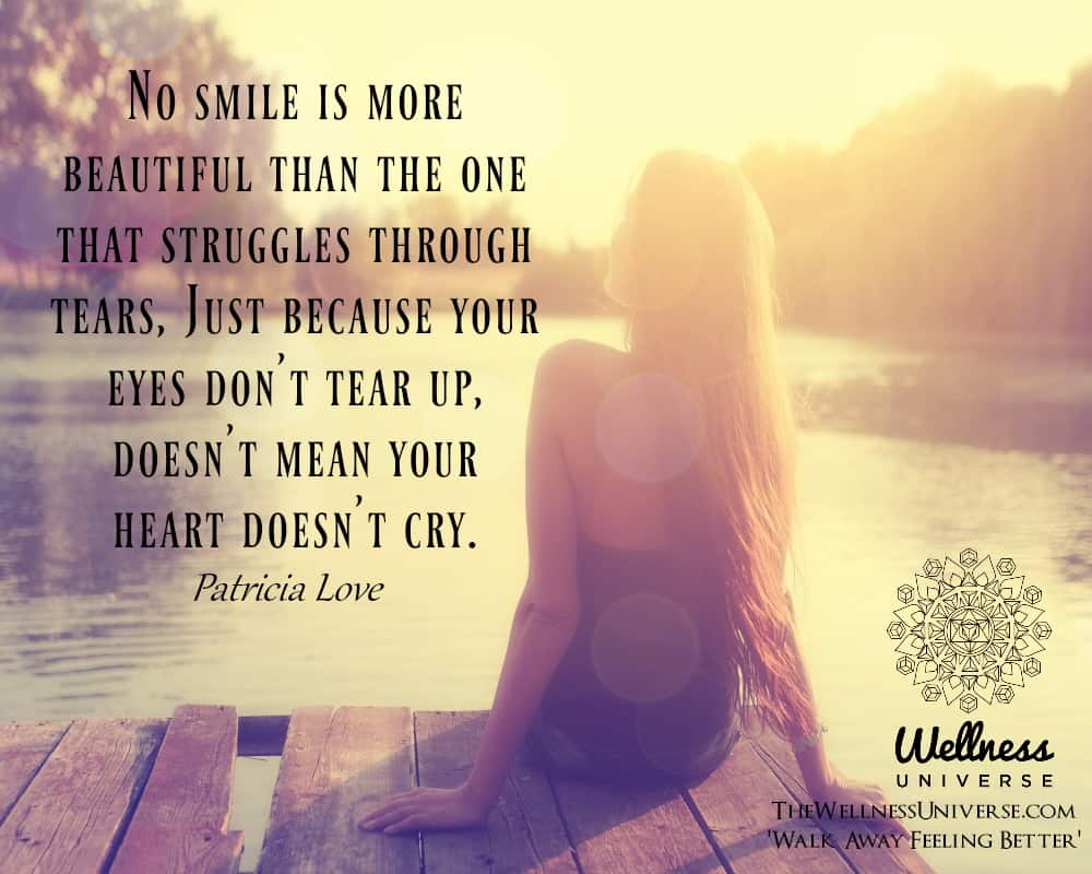 No smile is more beautiful than the one that struggles through tears, Just because your eyes don&#82