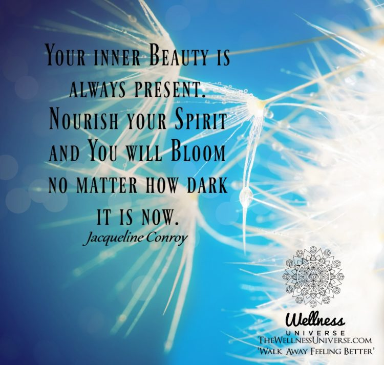 Your inner Beauty is always present. Nourish your Spirit and You will Bloom no matter how dark it is